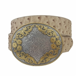 Quality Western Statement Oval Buckle in Ostrich Belt