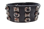 Black Leather Cuff with Pyramid Stud and Jet Stone