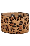 Leather  hair on calf animal printed Stripes Wrist Band