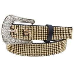 1 1/8'' Western belt with rhinestone all over strap and Rhinestone on Belt Buckle.