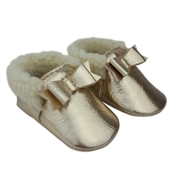Tiny Bow Moccasin with Faux Fur