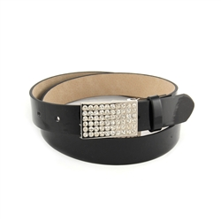 "1 1/8"" Skinny Patent Leatherette belt  Strap With Square Rhinestone belt buckle."