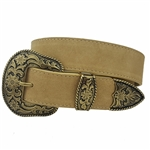 Genuine Suede Belt with Western Buckle set
