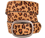 Snap On Cow Hair Leopard Print Leather Belt with Oval Antic-Silver Buckle .