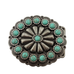 Floral Turquoise Western Buckle