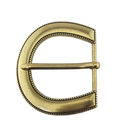 Solid Round buckle with tiny rope edge details in antique silver and brass finishes