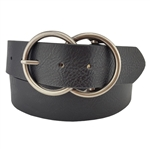 Vegan Leathrette Jean Belt with Double Round Buckle