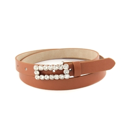 "3/4"" Skinny Leatherette belt Strap With Rectangular Rhinestone Buckle."