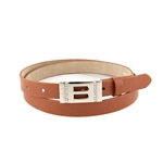 3/4'' Skinny Regular Leatherette Belt  Strap with square buckle.