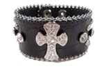 Rhinestone Studs and Cross Decoration Wrist Band
