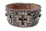Rhinestone Cross Ornaments Croco Print Wrist Band