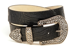 Hornback Croco Print Leather Belt