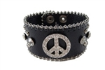 Rhinestone Peace Sign Leather Wristband