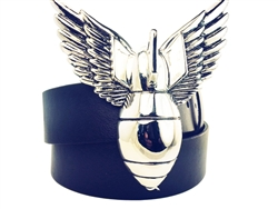 Winged Bomb buckle with black snap on bonded leather belt.
