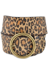 Women High waist wide Belt In Vegan Leopard & Snake Print With Round Buckle.