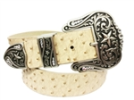 "1.5"" width 3-pc western buckle set with star design in antique silver matching with croco, ostrich and plain belt."