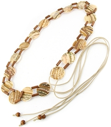Fashion fringe belt with mother of pearl shell and wood tubes