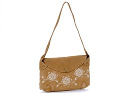 Suede bag with flower print