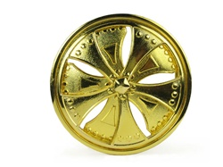Gold Dub Spinners Belt Buckle