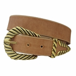 Western Inspired Twisted Buckle set with Vintage Distress Vegan Belt