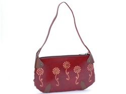 Leather bag with flower print